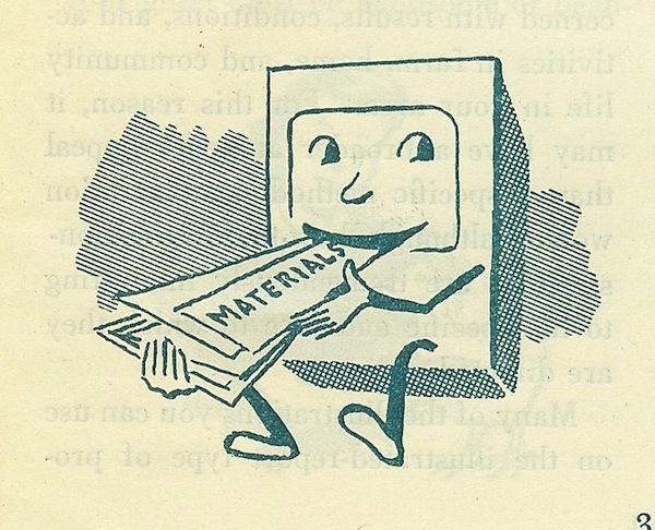 illustration of vintage TV devouring materials