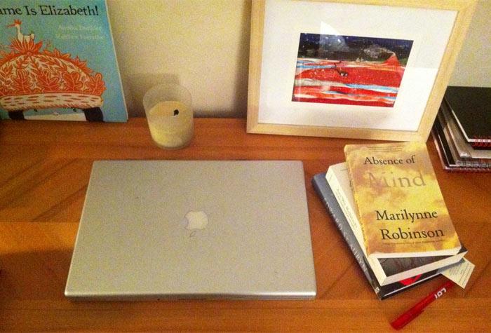 Elizabeth McGuane's slightly tidier than usual desk