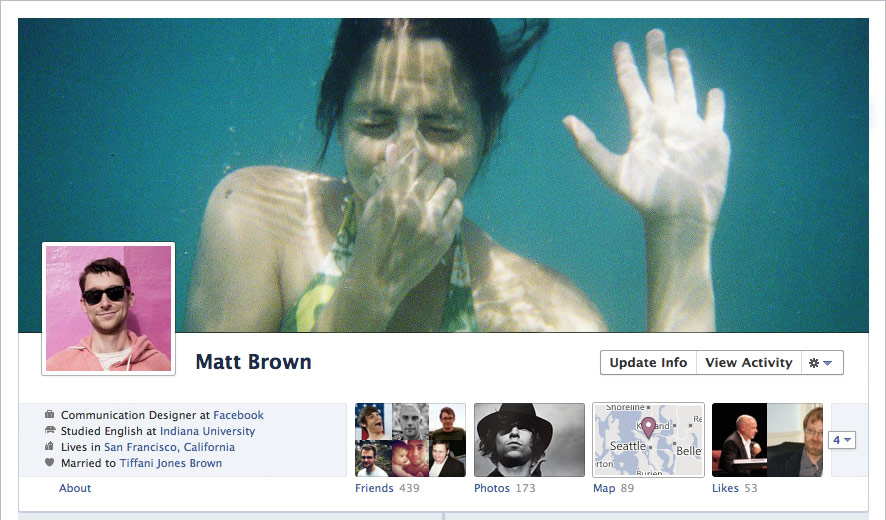 The new Facebook timeline and cover image for user profiles.